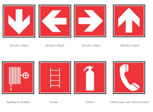sinalização de segurança - Sinalização de combate a incêndios