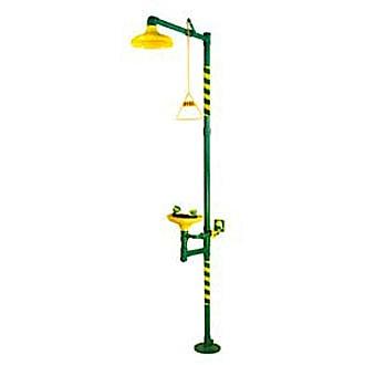 Chuveiro e lava olhos de emergência verde e amarelo