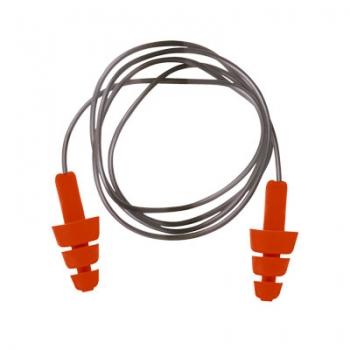 Tampões para os ouvidos reutilizáveis vermelhos com cordão cinzento
