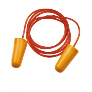 Tampões para os ouvidos cor de laranja com fio vermelho